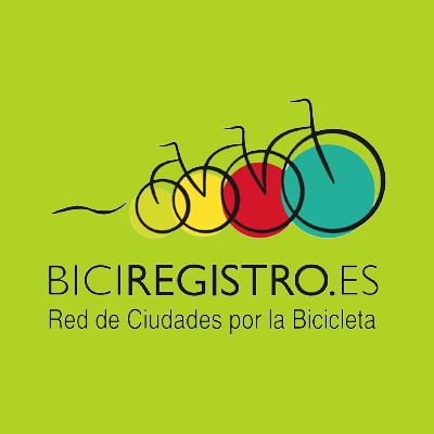 Logotip de bicicletes niades amb el text de Biciregistro