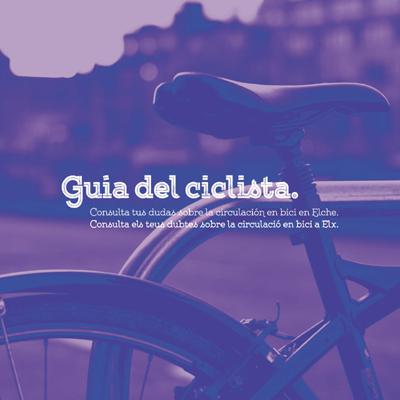 Bicicleta amb fons urbà amb text Guia del Ciclista