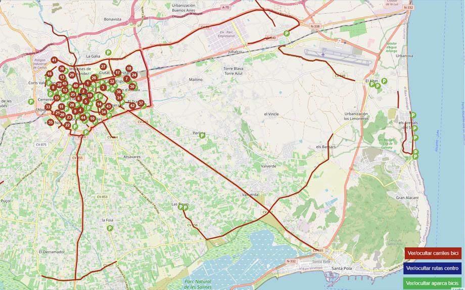 Mobilitat unifica el mapa amb la informació sobre estacions de Bicielx, aparcabicis i carrils bicis